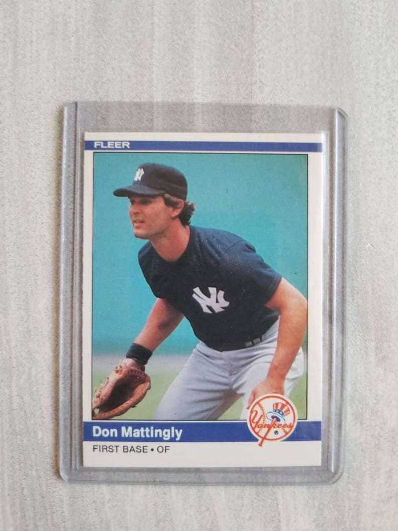 Don Mattingly 1984 Fleer Rookie Card New York Yankees Vintage Baseball Cards Yankees Gift Fathers Day Gift For Him