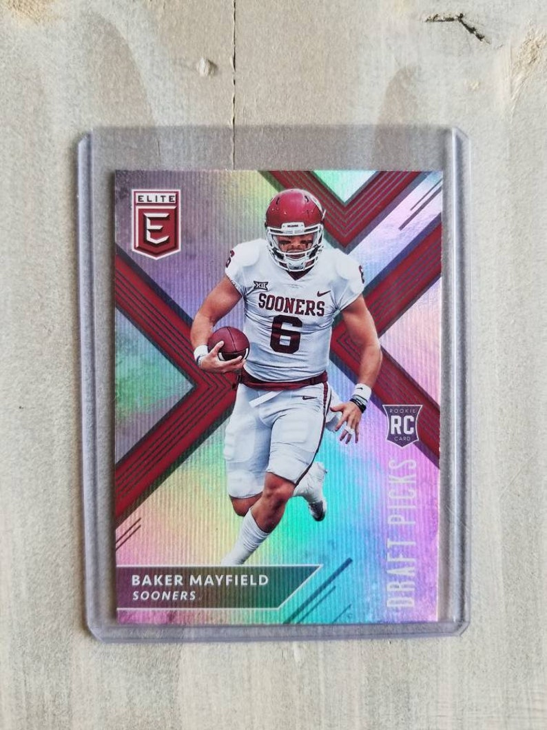 Baker Mayfield Elite Rookie Card Cleveland Browns Gift Ou Oklahoma Sooners Gifts For Men Boyfriend Gift For Him Boomer Sooner
