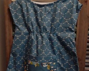 Girls dress, Girls floral tunic dress, Size 3, Girls Birthday dress, Girl Easter dress with pocket, Teal girl dress, Girl summer dress, #101