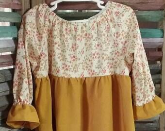 Girls dress, Girls Easter dress, Girls peasant dress, Fall peasant dress, Floral peasant dress, Girls Birthday dress, Girls size 4, #85