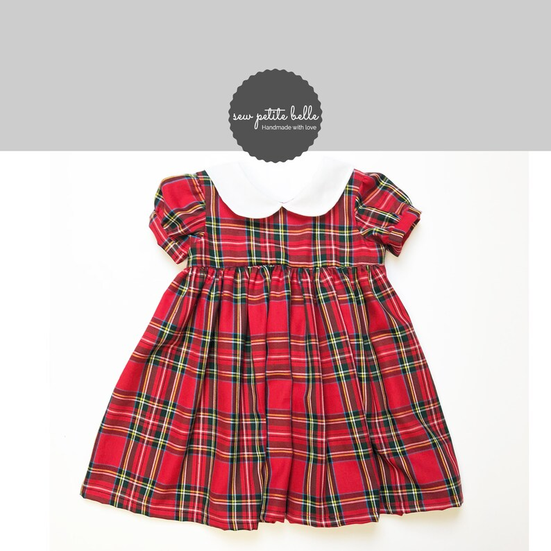 Little Girls Christmas Dress Classic Red Plaid Little Girls Christmas Dress With White Collar