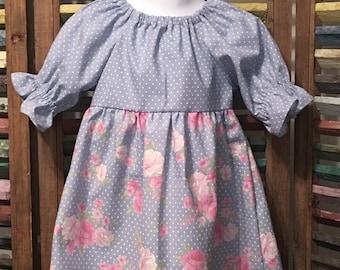Girls peasant dress, Girls dress, Girls Easter dress, Toddler dress, Girls spring or summer dress, Girls Birthday dress, Size 2T,  #186