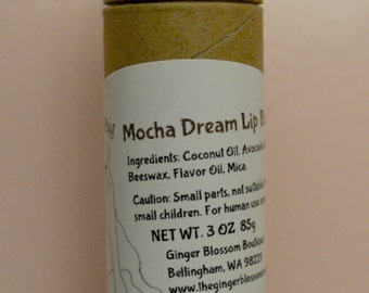 Mocha Dream Pouty Pug Lip Balm, natural, lip care, coffee lovers, mocha, gifts, moisturize, smooth, cosmetics, eco friendly, travel size