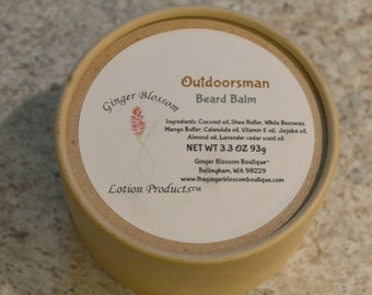 Outdoorsman Beard Balm, shine, healthy hair & beard, natural, accessories, facial care, body care, gift for him, moisturize, soften, shape