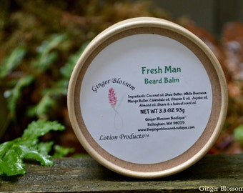 Fresh Man Beard Balm, freshen, naturally, gift for him, men, facial care, beards, mustaches, shape, moisturize, shine, glossy fresh scent