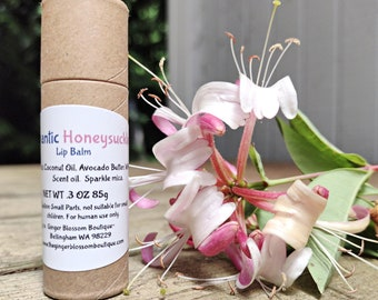 Romantic Honeysuckle Lip Balm, Skincare, Gifts, Floral, Fresh, Summer, Holidays, Earth Friendly, Kiss, Date night, Valentines, Wedding, Eco,