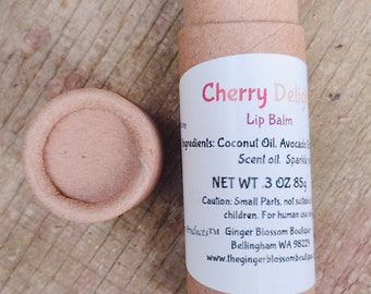 Cherry Delight Lip Balm, Gift, Lips, Balm, Travel, Skincare, Summer, Natural, Earth friendly, Eco, Recycle, Compostable, Handmade