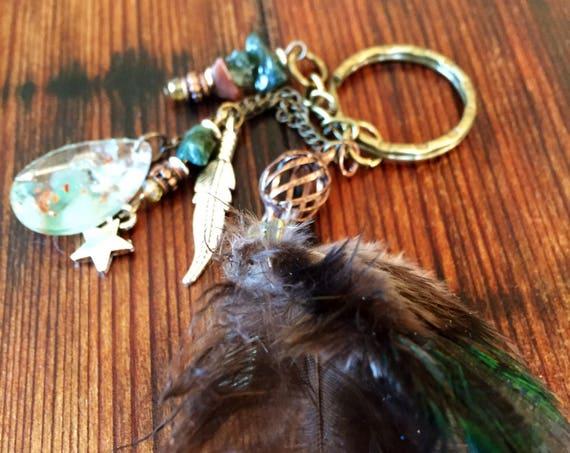 Feather Orgone Keychain- Abundance and Manifestation Orgone Energy Keychain- Bohemian Spirit Feather Keychain- White Magic Protection