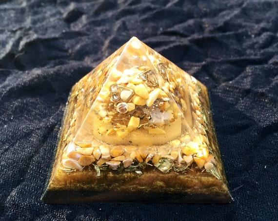 Earthing Orgone Pyramid- Yellow Jasper- Shungite- EMF Protection- For Stress Relief and Mental Focus- Mother Earth Energy Orgone Pyramid