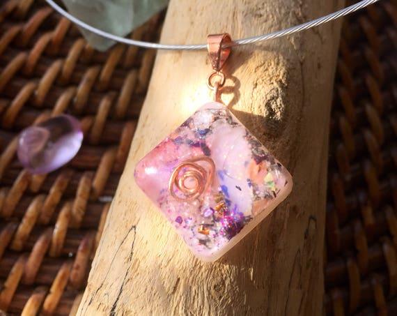 White Macgik Orgone Energy Pendant- Opal Energizing Necklace- Motivation & Manifestation Orgone Charm- Law of Attraction- Positive Energy