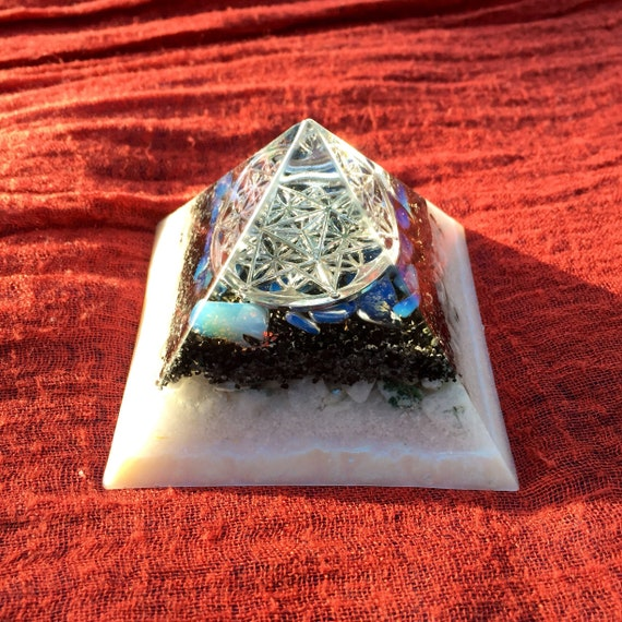 Sacred Geometry Orgonite® Pyramid- Opalite Orgone Pyramid- Male/Female Balancing Energy for Grounding- Harmony & Connection to Higher Self