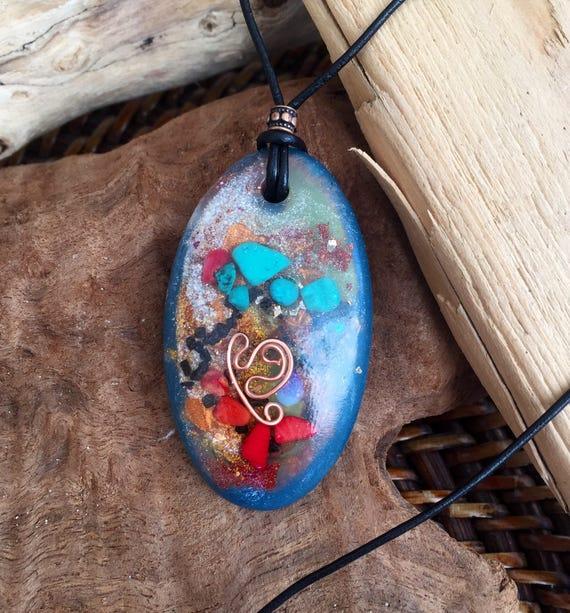 Medicine Wheel Orgonite® Pendant- Glow in the Dark Orgone Energy Pendant- Hayoka Empath Protection Orgonite® Necklace- Crown Chakra Orgone