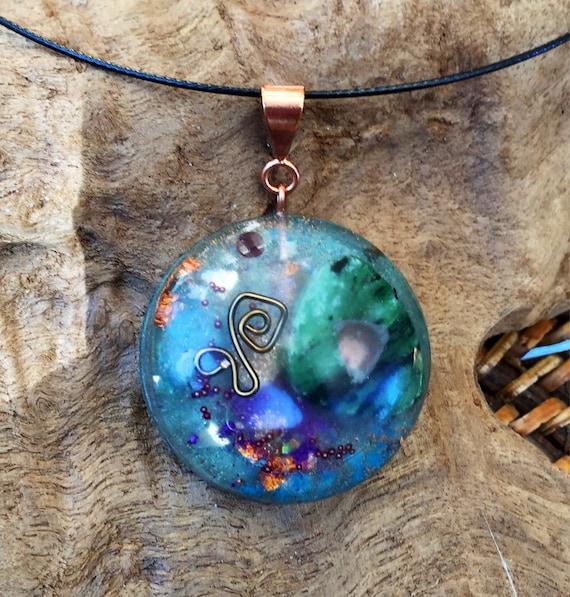 Ruby In Ziosite Orgonite® Pendant- Atlantis Earth Energy Orogne Necklace- Elemental Spirit Guide Communication Orgonite® Charm- For Vision