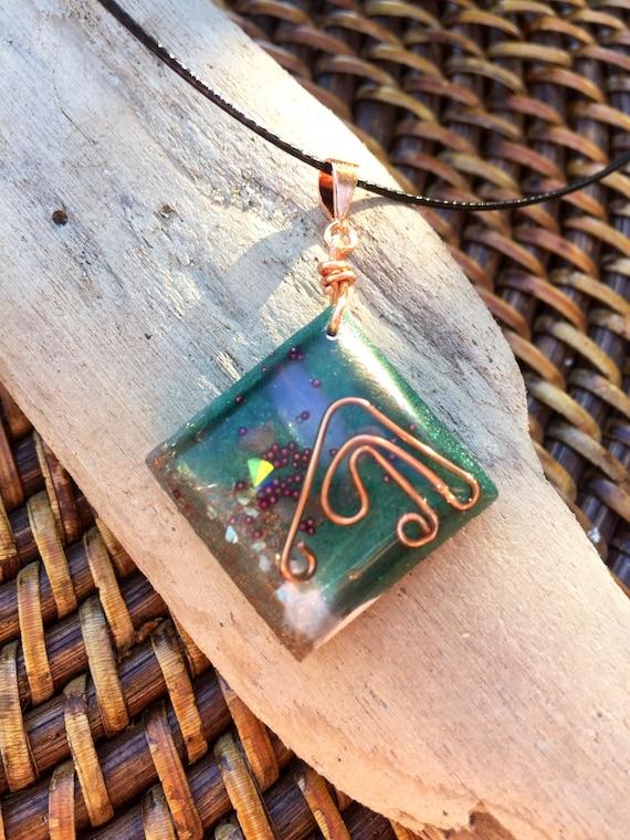 Wood Elf Magic Orgonite® Pendant- Earth Energy White Magic- Spiritual Protection Orgonite® Necklace- Emerald Tablets- Fairy Orgone Energy