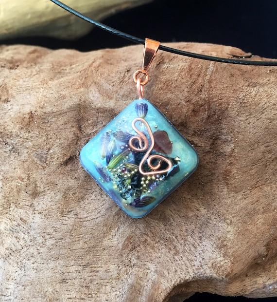 Glow in the Dark Lavender Orgonite® Wand- Forest Spirit Orgone Energy Pendant- Earth Child Grounding & Communication Energy Orgonite® Charm
