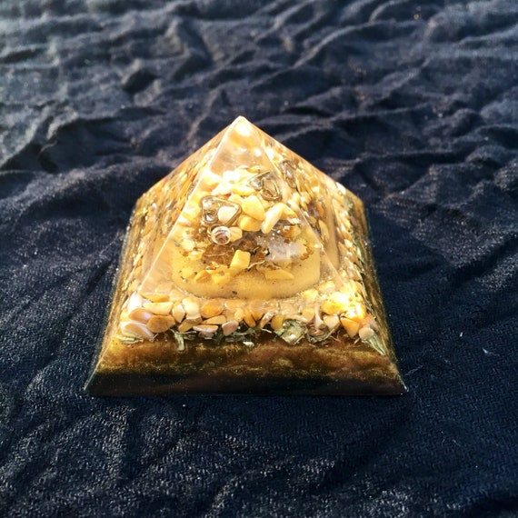 Earthing Orgonite® Pyramid- Yellow Jasper- Shungite- EMF Protection- For Stress Relief and Mental Focus- Mother Earth Energy Orgone Pyramid