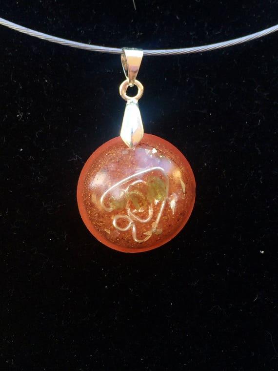 Spiritual Protection Peridot Orogne Charm- Luck Charm Orgone Energy Generator Necklace- Empath Protection Orgone Energy Pendant- Reiki Enegy