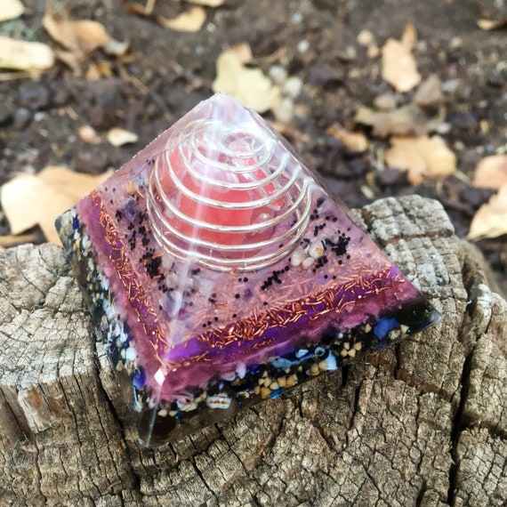 Glow in the Dark Orgonite® Pyramid- Earth Spirit Elemental Orgone Pyramid- Negative Energy Protection Orgonite Pyramid- Stress Relief