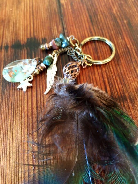 Orgonite® Feather Keychain- Abundance and Manifestation Orgone Energy Keychain- Bohemian Spirit Feather Keychain- White Magic Protection