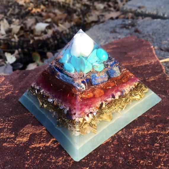 Glow in the Dark Orogne Pyramid- White Jasper Orgone Energy Pyramid- Spiritual Awakening  Turquise Pyramid- Cosmic Consciousness Energy