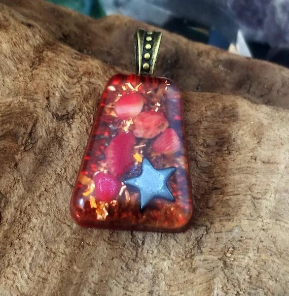 Temple Gold Orgonite® Energy Charm- Abundance and Emotional Release Orgonite® Necklace- Gold Manifestation Orgone Pendant