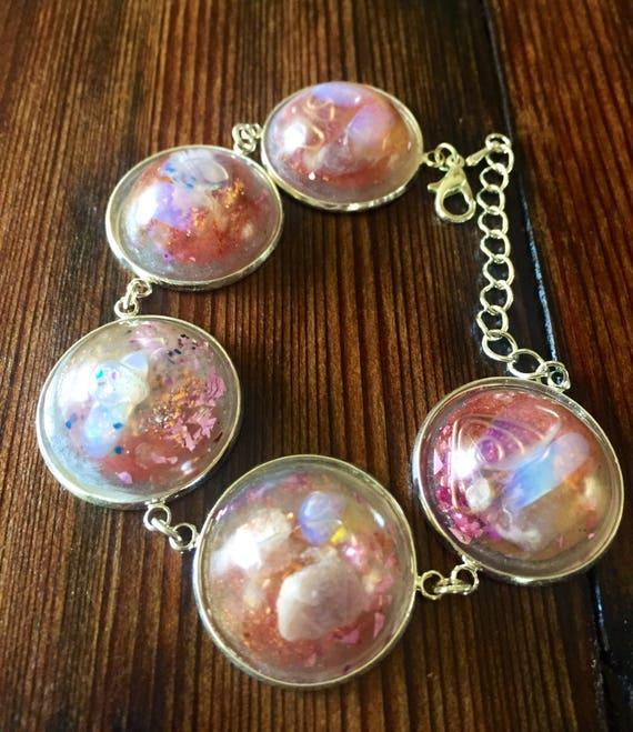 Sacred Geometry Cosmic Spiral Orgone Energy Generator Bracelet- Sacred Feminine Orgone Energy Bracelet- Violet Flame Bracelet- Opal