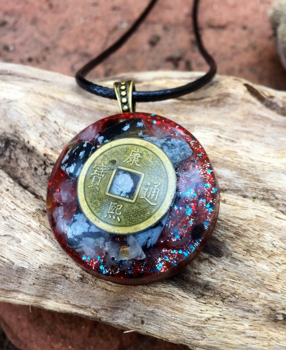 Chinese Luck Coin Orgonite Pendant- Manifestation & Abundance Orgone Talisman- Money Orgone- Good Luck Orgonite Charm- Snowflake Obsidian