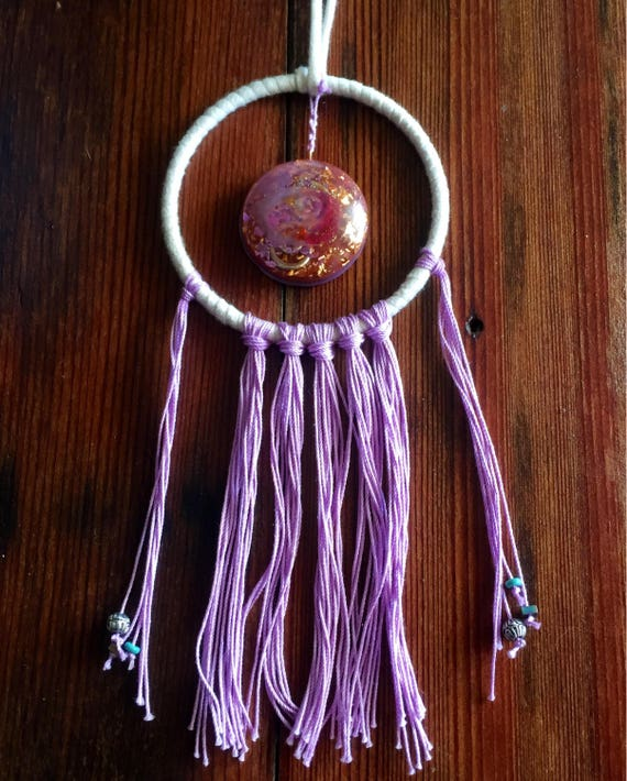 Violet Flame Dream Catcher- Sacred Space Orgone Energy Generator- Astral Travel Dream Work- Light Worker Orgone Energy Shield