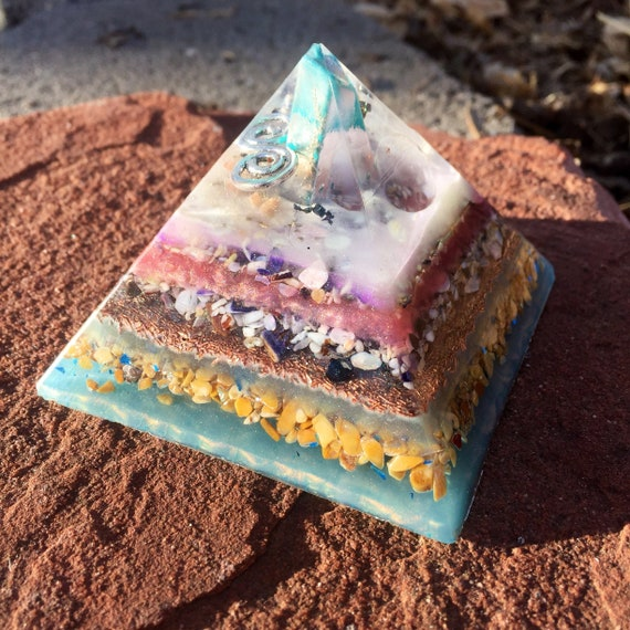 Lemurian Orgonite® Pyramid- Light Worker Orgone- Amazonite Dream Awakening Orgonite® Pyramid for Cosmic Consciousness and Lucid Dreaming