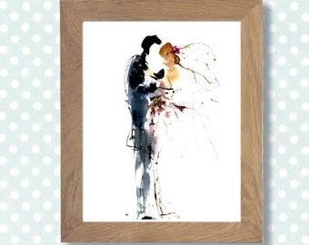 "Wedding watercolor painting ""Romantics"", Digital art to custom Wedding invitations Save the date, Favors, Watercolor poster, Art Home decor"