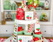 Strawberry decor, white red summer tiered tray set Mix and match items, strawberry patch, garland, rolling pin, 3D signs etc