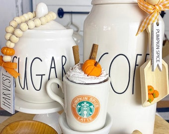 """Tiered tray mini mug """"Pumpkin spice latte"""" with faux whip, canister scoop, sugar bowl beads coffee bar set. Fall / autumn farmhouse"""