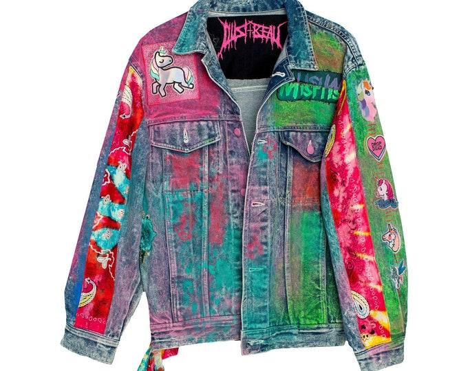 Featured listing image: Sparkleberry Unicorn Mix Tape Acid Wash Boxy Denim Jacket with Neon Rainbow Tie Dyed Bandana