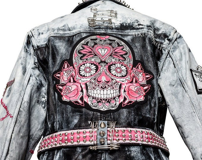 Featured listing image: Punk Era Calavera Belted Motorcycle Jacket