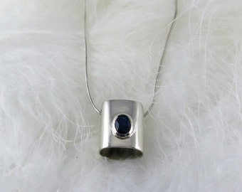 Sterling Silver and Sapphire Pendant