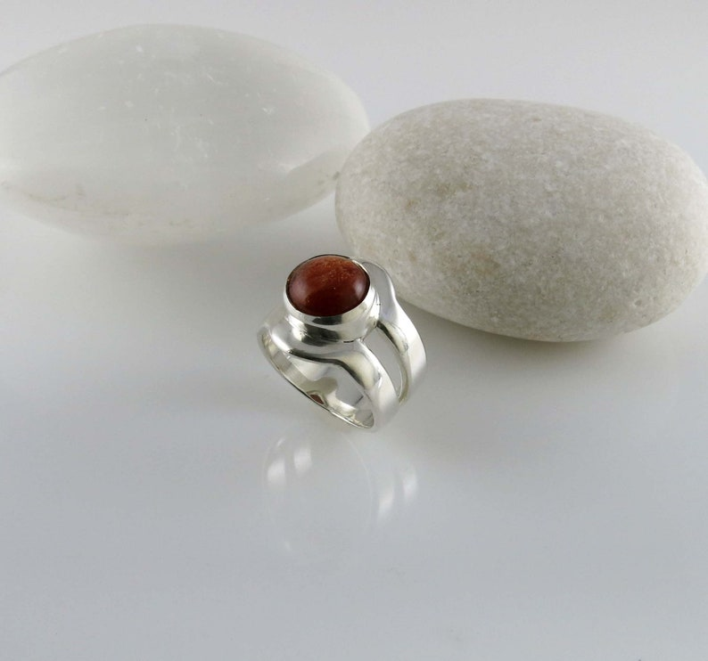 Sterling silver ring with sunstone silver ring with round sunstone