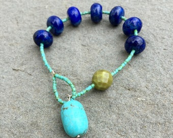 Turquoise and lapis prayer bracelet- Anglican/ Protestant rosary bracelet