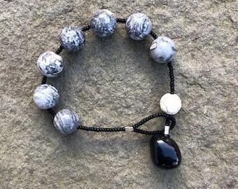 Zebra jasper, white turquoise and black onyx prayer bracelet- Anglican/ Protestant rosary bracelet
