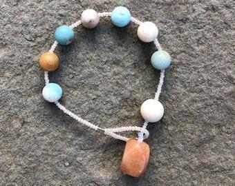 Natural amazonite, white river stone and apricot jade prayer bracelet- Anglican/ Protestant rosary bracelet