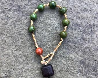 Lynxes green Jasper, tumbled red Jasper, with brown lava pendant prayer bracelet- Anglican/ Protestant rosary bracelet