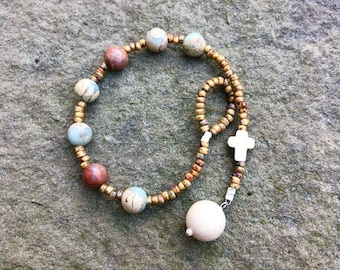 African opal, white howlite cross and tumbled river stone pendant bracelet- Anglican/ Protestant rosary bracelet