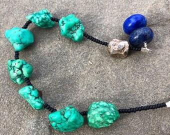 Turquoise, lapis & sterling silver prayer bracelet- Anglican/ Protestant rosary bracelet