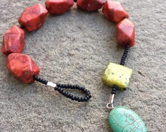 Chunky red coral with blue and yellow turquoise prayer bracelet- Anglican/ Protestant rosary bracelet