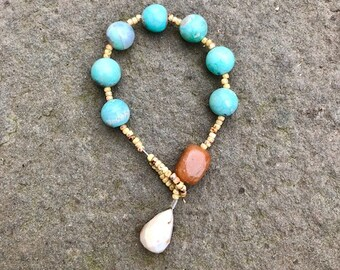 Agate and apricot jade prayer bracelet- Anglican/ Protestant rosary bracelet