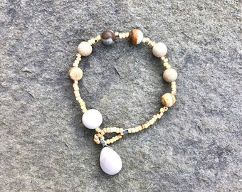 Tumbled Jasper, River stone, with faceted jasper teardrop pendant bracelet- Anglican/ Protestant rosary bracelet