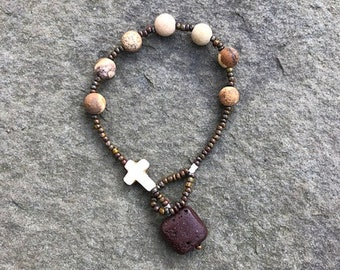 Tumbled Jasper with white howlite cross and and brown lava pendant prayer bracelet- Anglican/ Protestant rosary bracelet