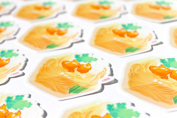 Udon Cube Sticker Anime Food Aesthetic Stickers High Quality Water Resistant Sticker
