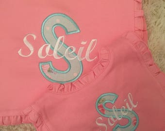 Baby bib and burp cloth set; baby bib, appliqué bib; monogram bib; monogrammed bib