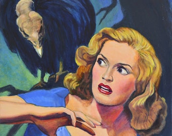Original Painting on Canvas retro acrylic pulp paintings artwork noirscapes wall art buzzard vulture forest magazine cover by Jane Ianniello