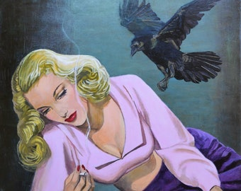 Lost Soul - original acrylic painting on canvas ready to hang - noir pulp detective magazine cover wall art artwork retro by Jane Ianniello